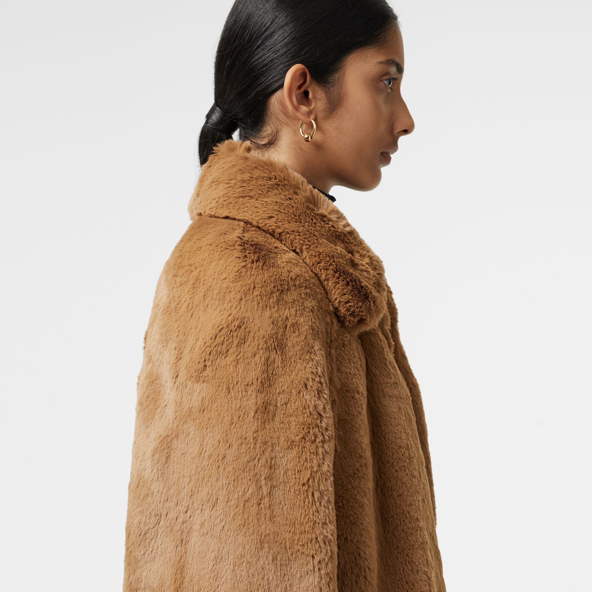 Faux Fur Cape in Camel - Women | Burberry United States - gallery image 1