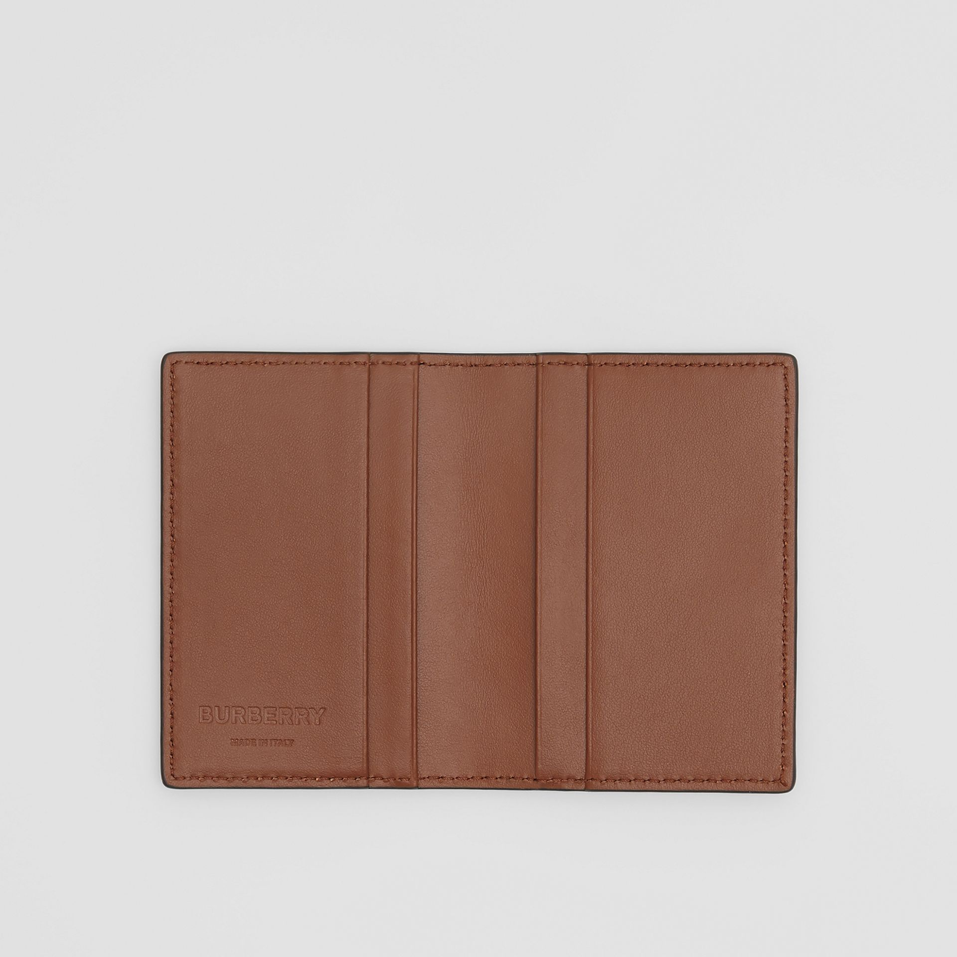 Monogram Leather Bifold Card Case in Dark Tan - Men | Burberry - gallery image 2
