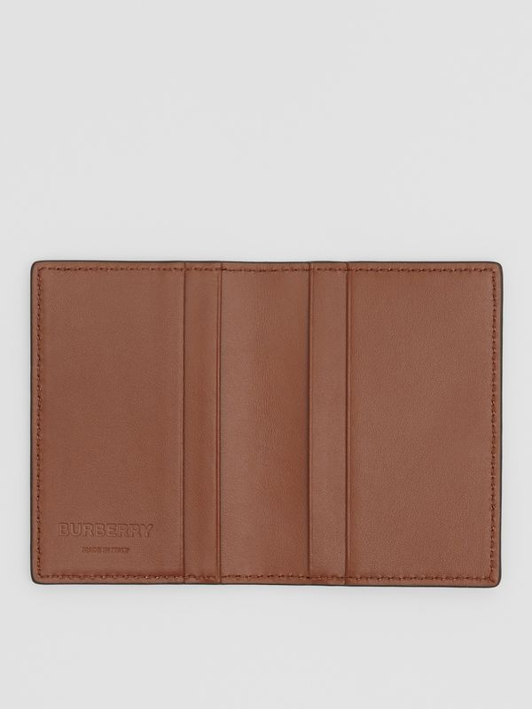 Monogram Leather Bifold Card Case in Dark Tan - Men | Burberry - cell image 2