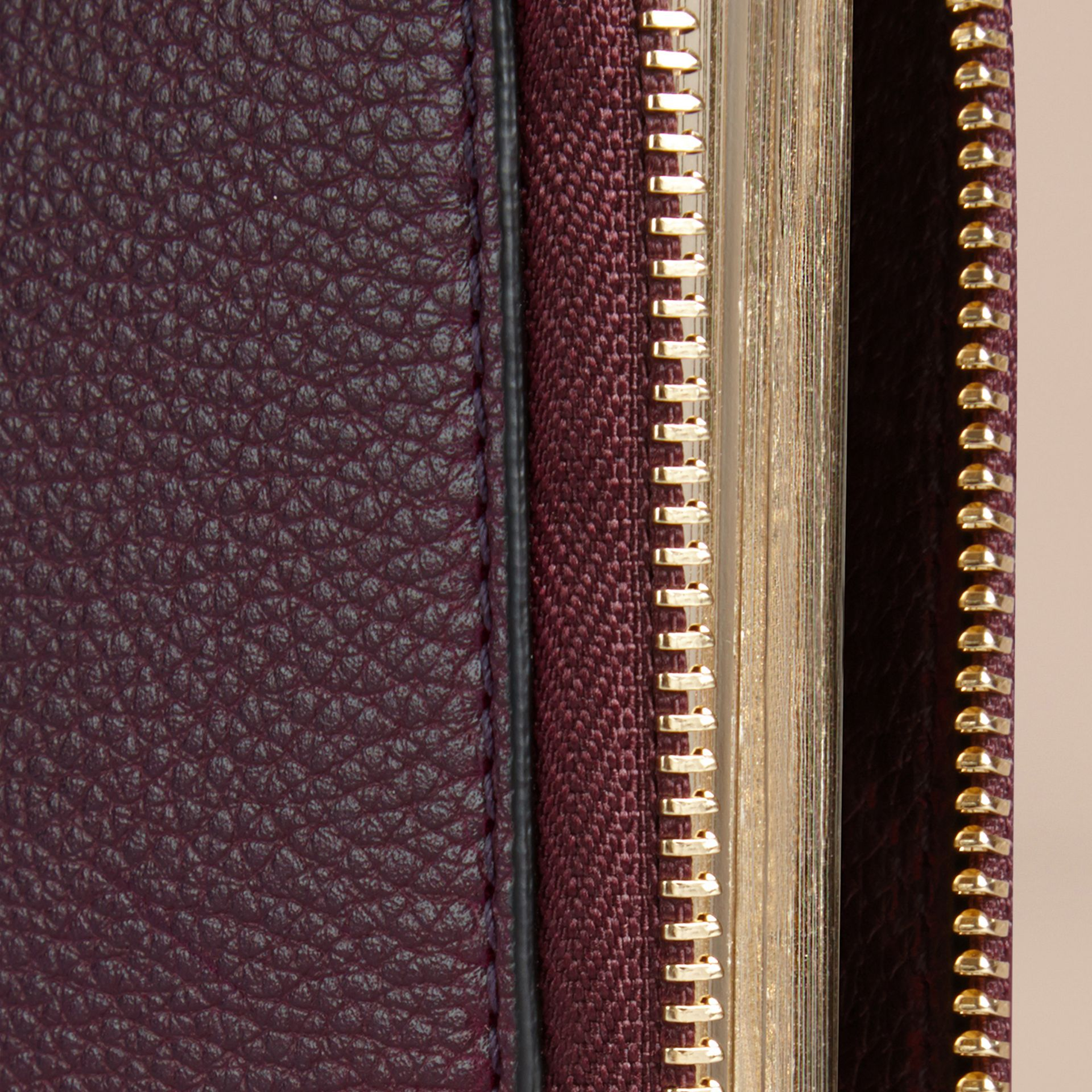 Ziparound Grainy Leather Mini Notebook in Dark Amethyst | Burberry - gallery image 2