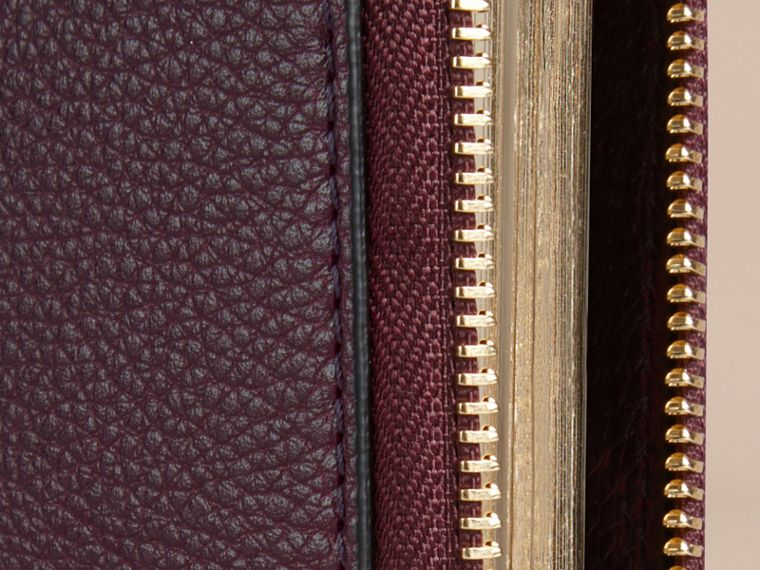 Ziparound Grainy Leather Mini Notebook in Dark Amethyst | Burberry - cell image 1