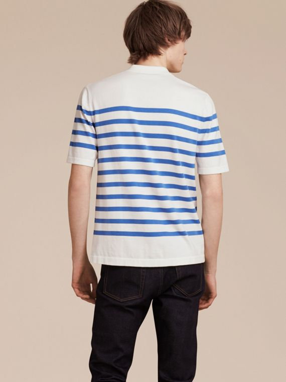 White/bright hydrangea blue Striped Cotton Polo Shirt White/bright Hydrangea Blue - cell image 2