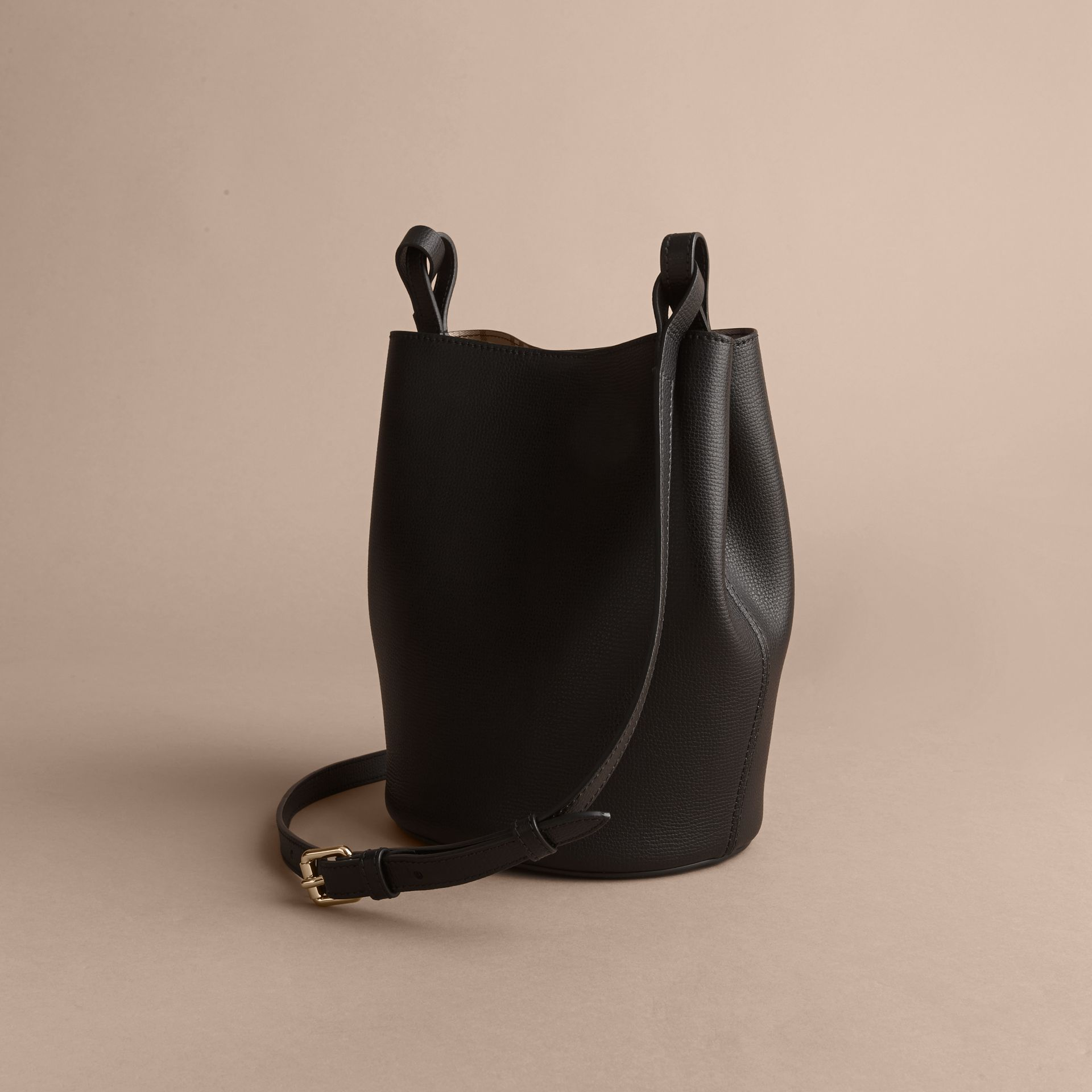 Leather and Haymarket Check Crossbody Bucket Bag in Black - Women | Burberry Australia - gallery image 4