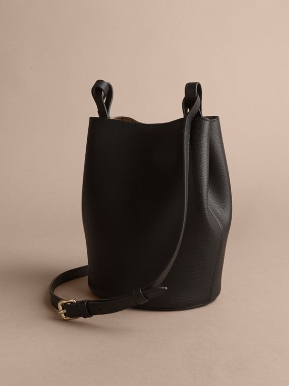 Leather and Haymarket Check Crossbody Bucket Bag in Black - Women | Burberry Singapore - cell image 3