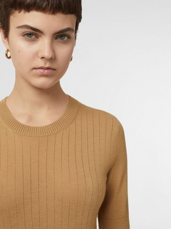 Short-sleeve Rib Knit Cashmere Sweater in Camel - Women | Burberry - cell image 1