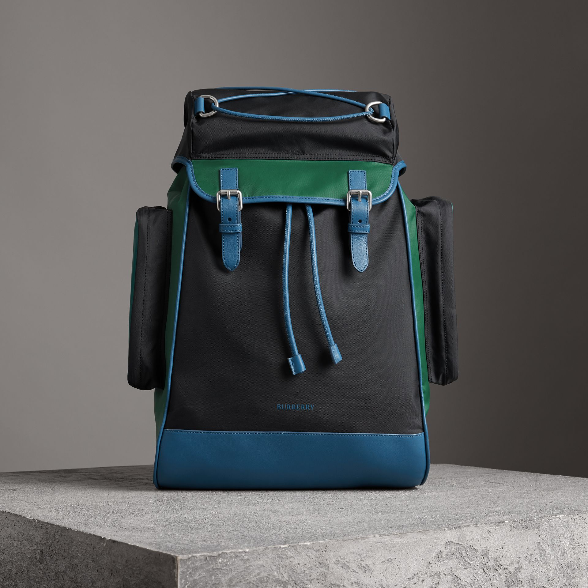 Tri-tone Nylon and Leather Backpack in Black - Men | Burberry - gallery image 0
