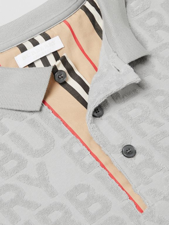 Logo Towelling Polo Shirt in Pale Grey | Burberry - cell image 1
