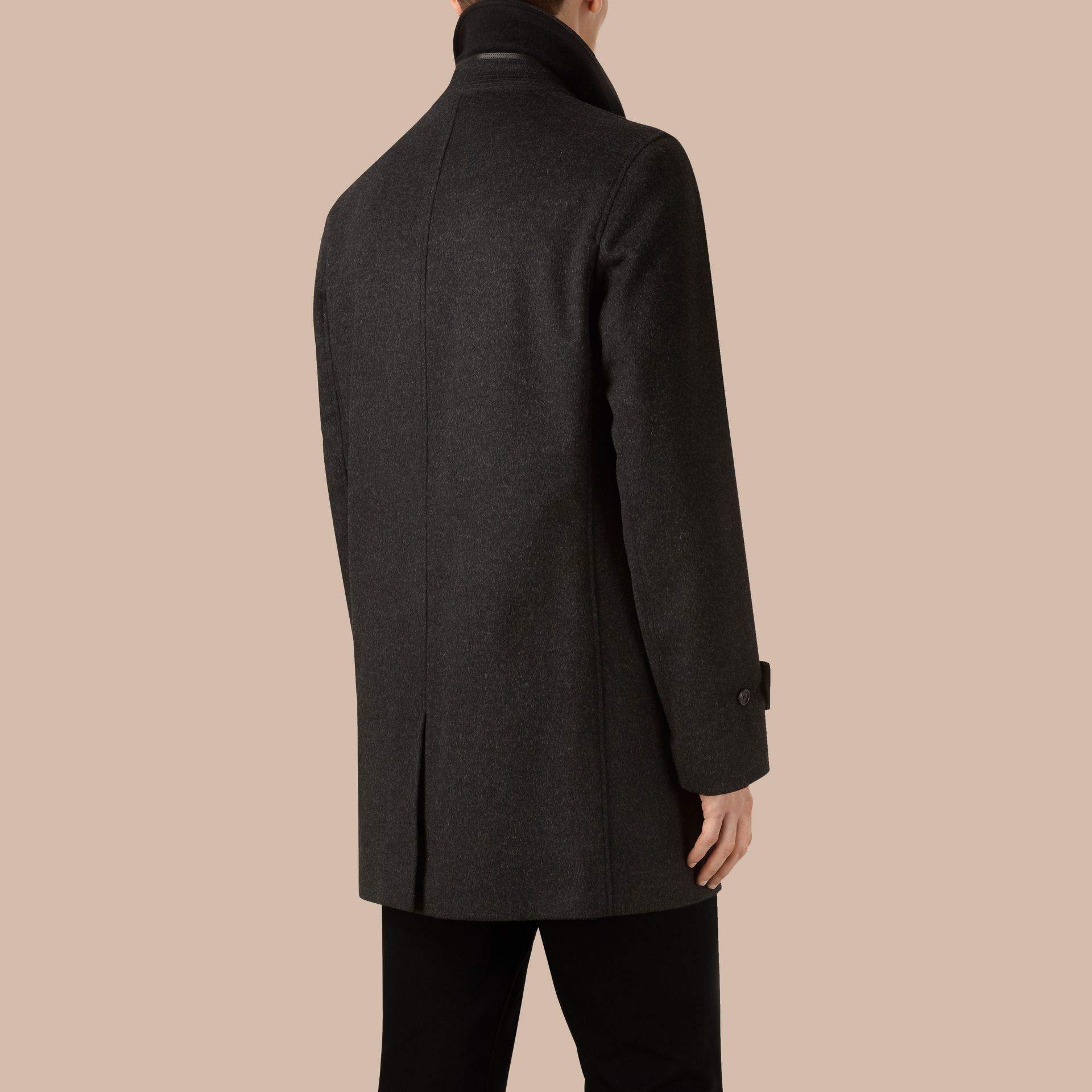 Dark grey melange Virgin Wool Cashmere Car Coat Dark Grey Melange - gallery image 3