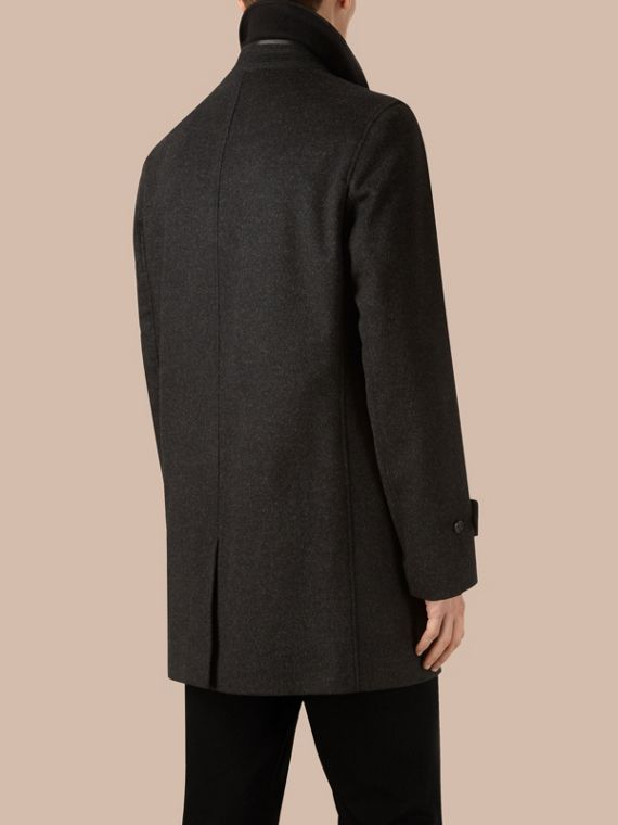 Dark grey melange Virgin Wool Cashmere Car Coat Dark Grey Melange - cell image 2