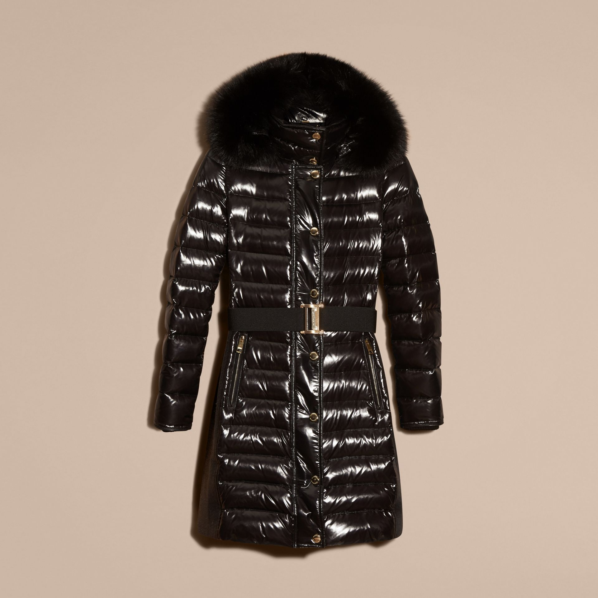 Black Down-Filled Coat with Detachable Fur-trimmed Hood Black - gallery image 7