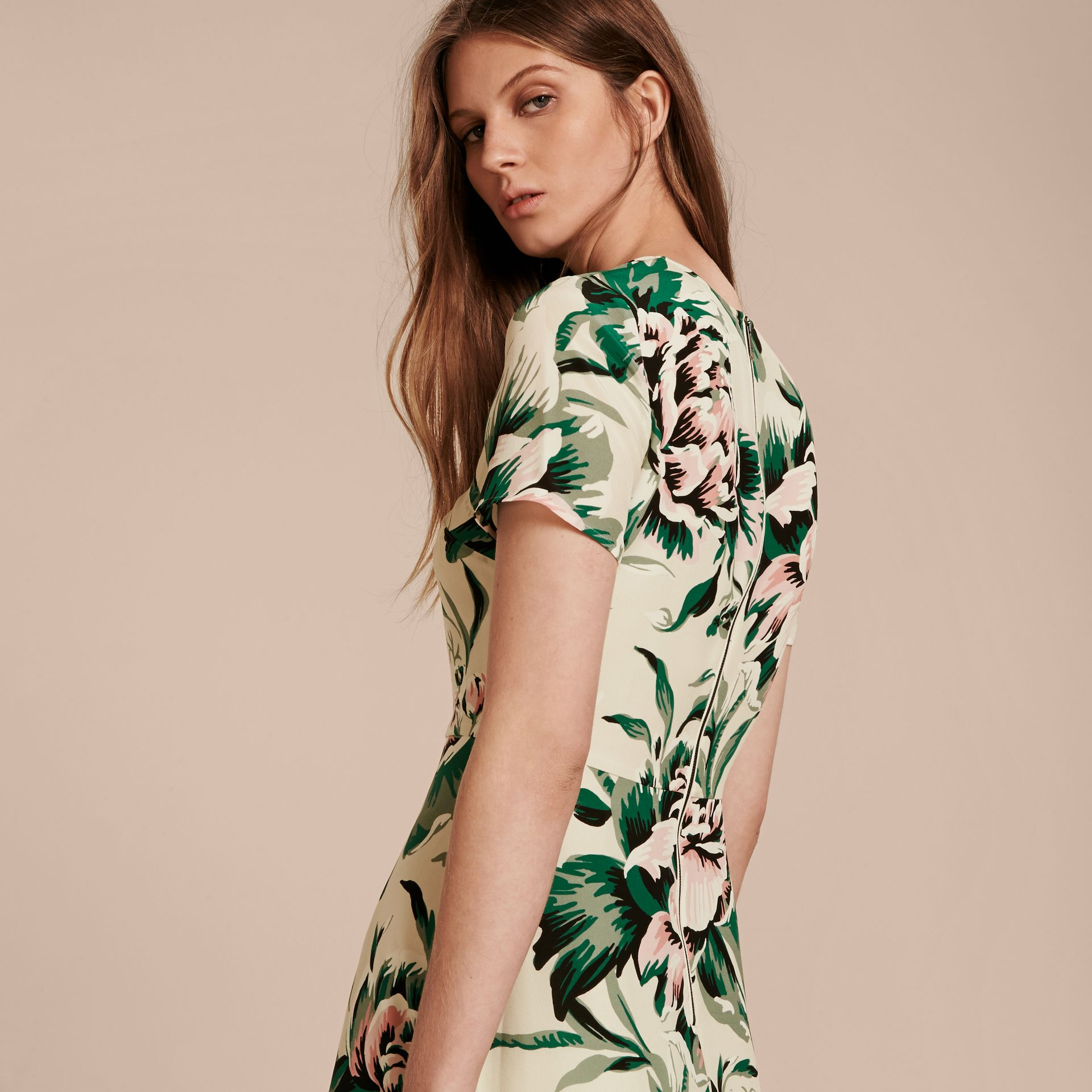 Emerald green Peony Rose Print Silk A-line Dress - gallery image 3