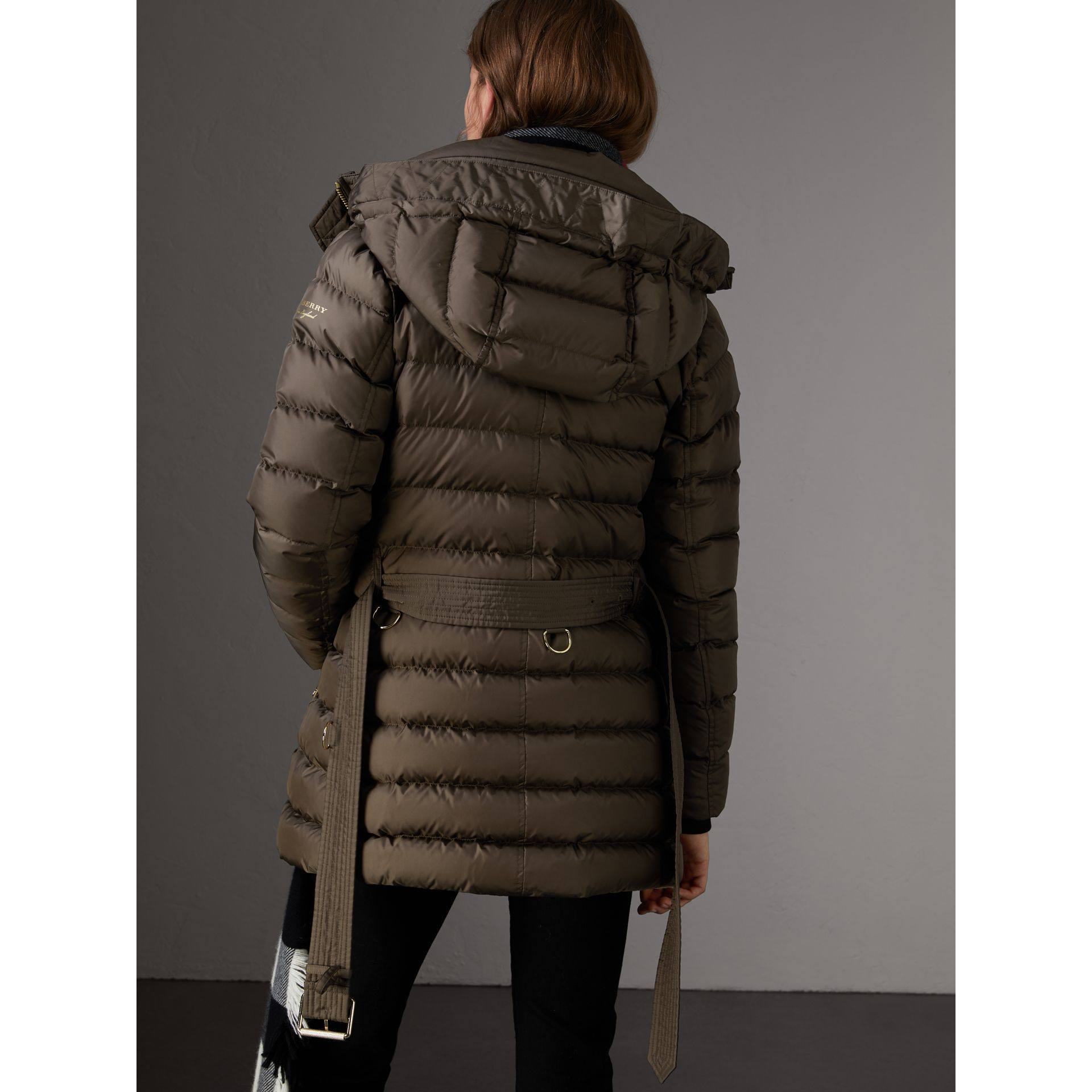 Hooded Down-filled Puffer Jacket in Mink Grey - Women | Burberry - gallery image 3