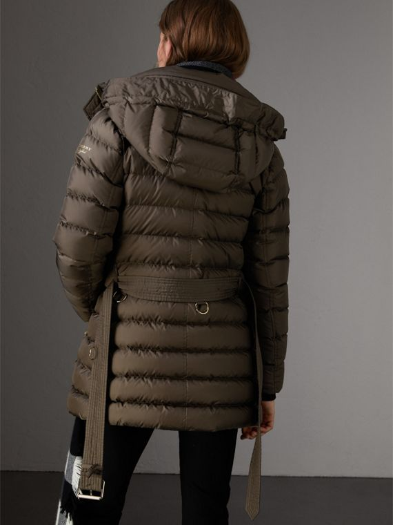 Hooded Down-filled Puffer Jacket in Mink Grey - Women | Burberry - cell image 2