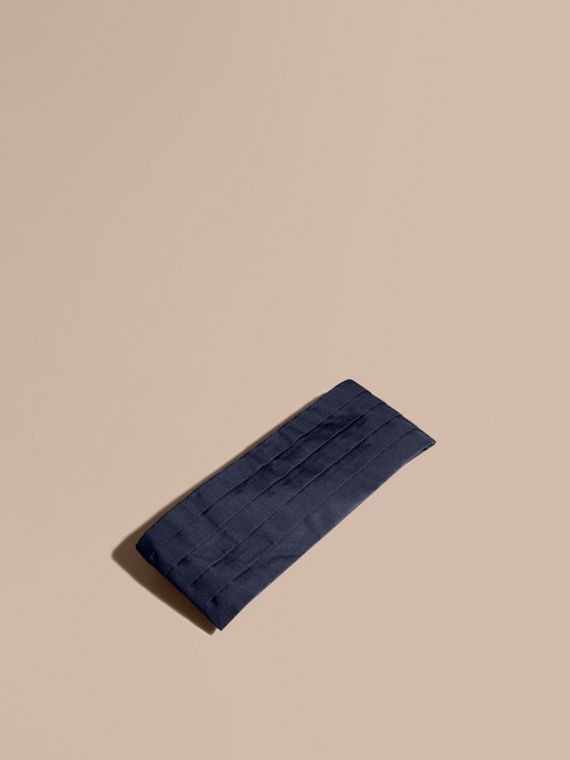 Pleated Silk Cummerbund Midnight