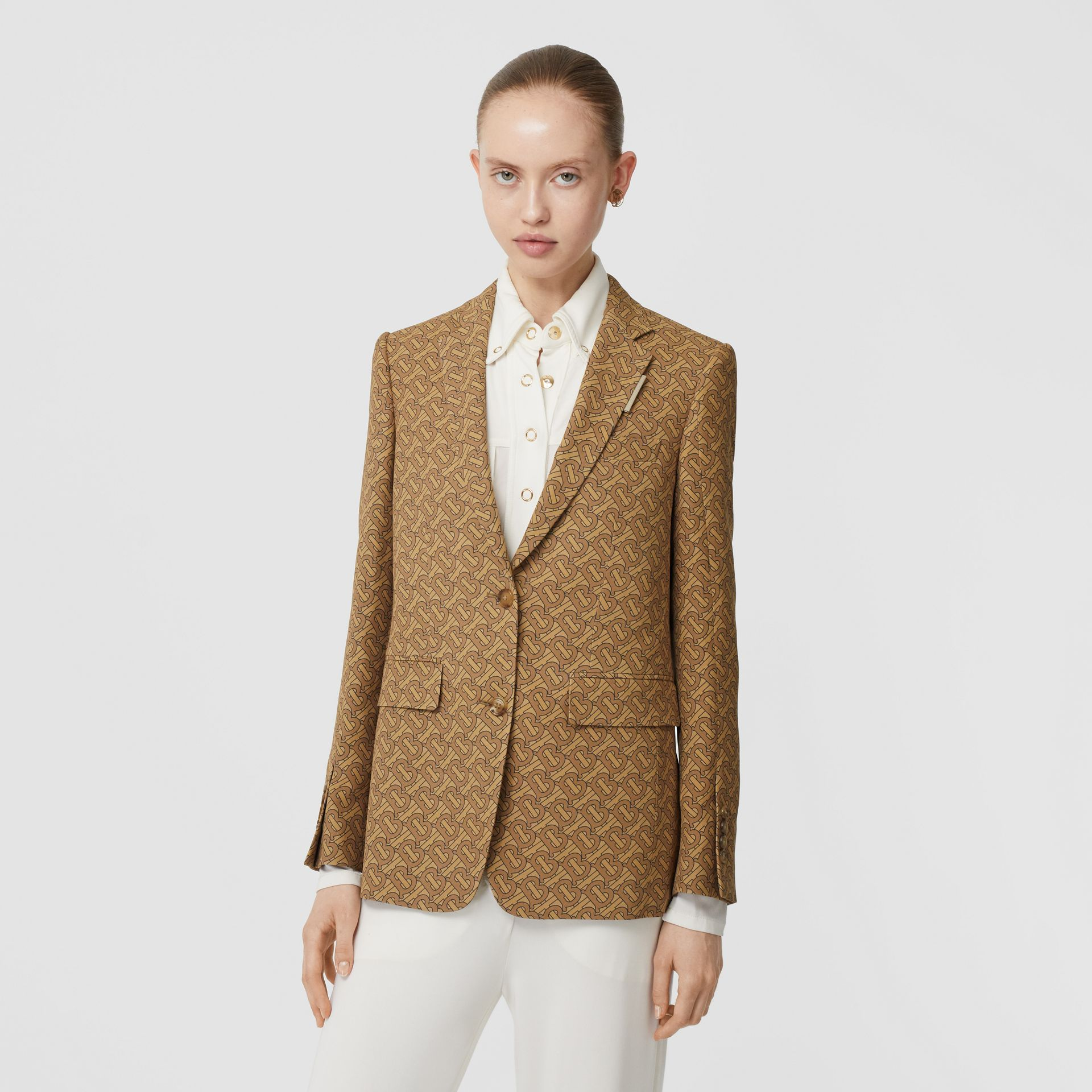 Monogram Print Silk Tailored Jacket in Tawny - Women | Burberry - gallery image 0