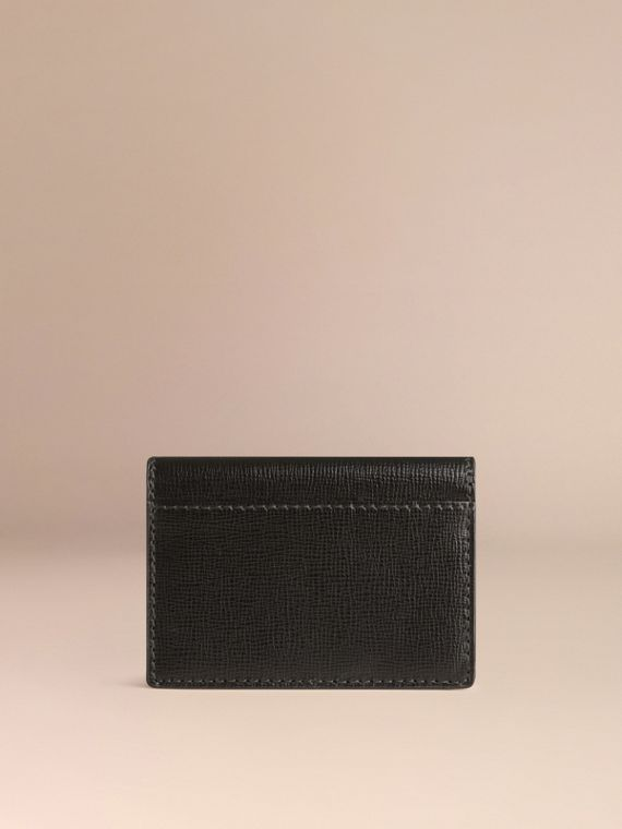 London Leather Folding Card Case in Black | Burberry Singapore - cell image 2