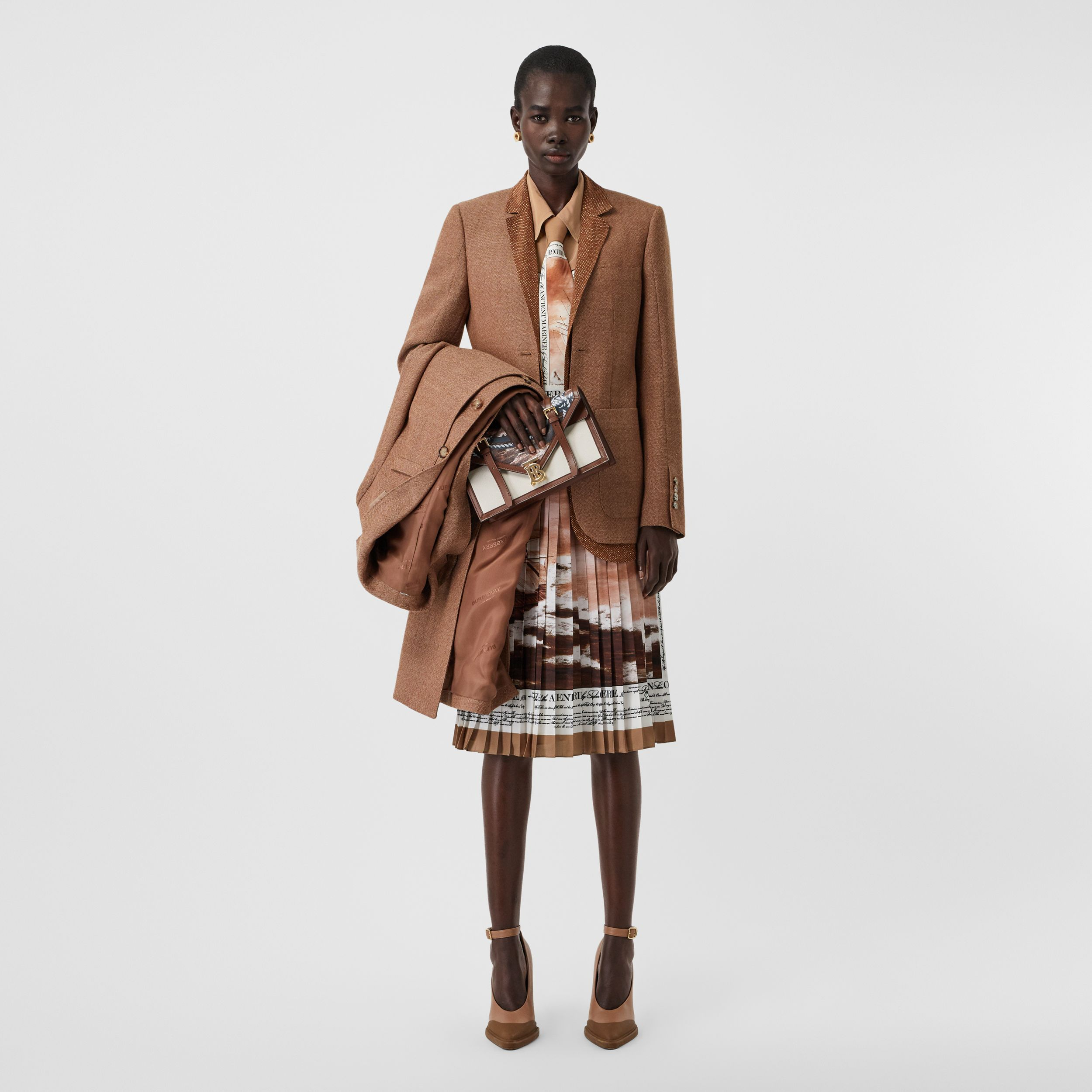 Mariner Print Silk Oversized Shirt in Bronze - Women | Burberry - 1