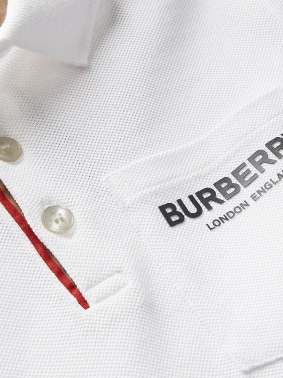 Icon Stripe Placket Cotton Piqué Polo Shirt in White | Burberry Canada - cell image 1