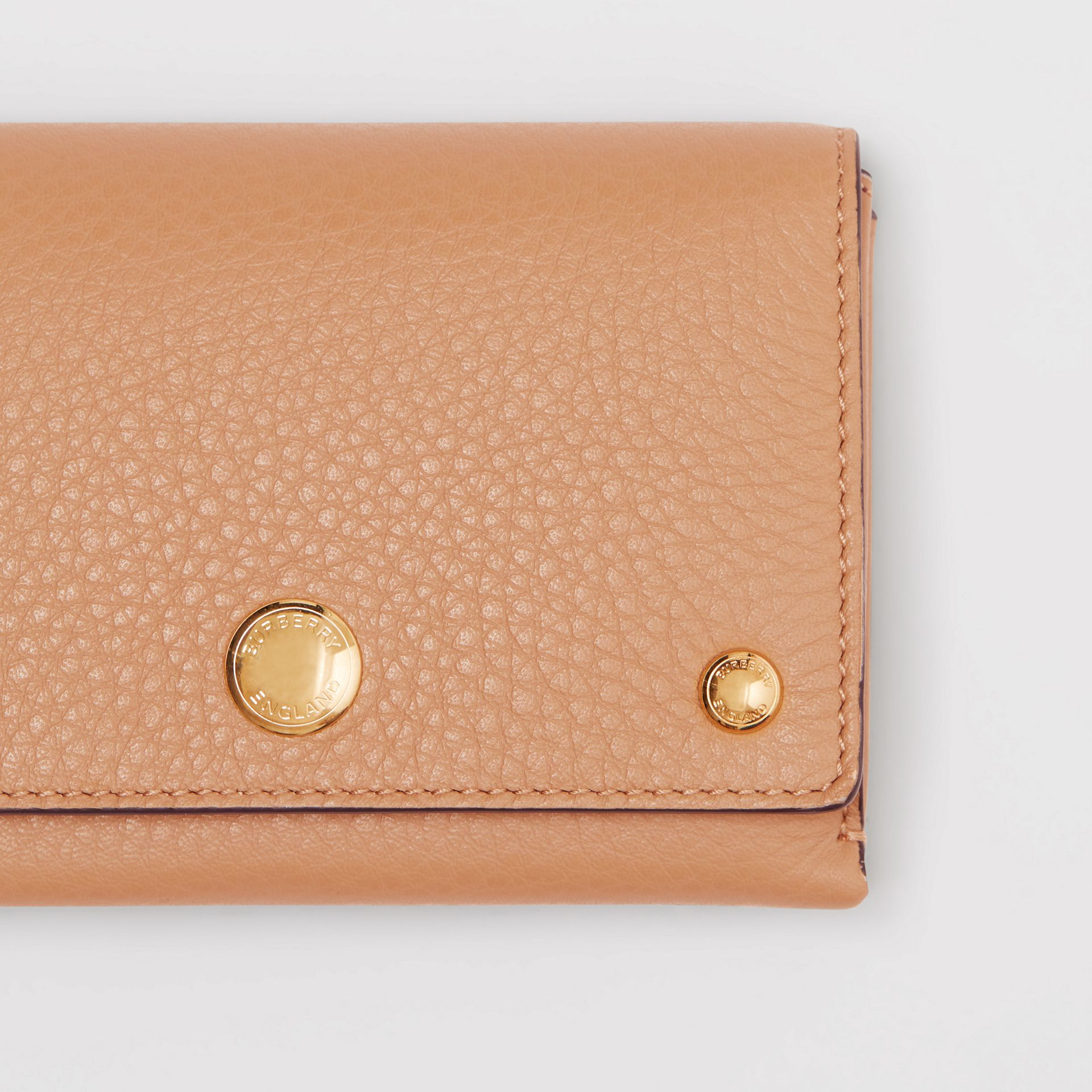Triple Stud Leather Folding Wallet in Light Camel - Women | Burberry - gallery image 1