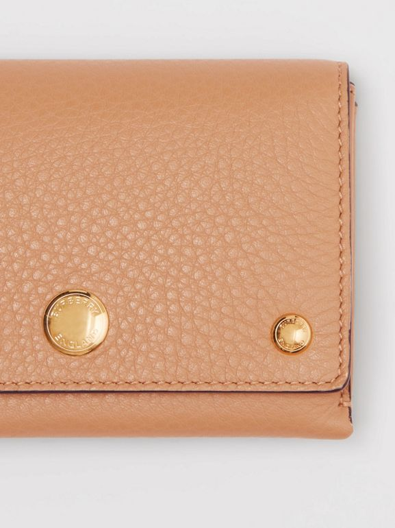 Triple Stud Leather Folding Wallet in Light Camel - Women | Burberry - cell image 1