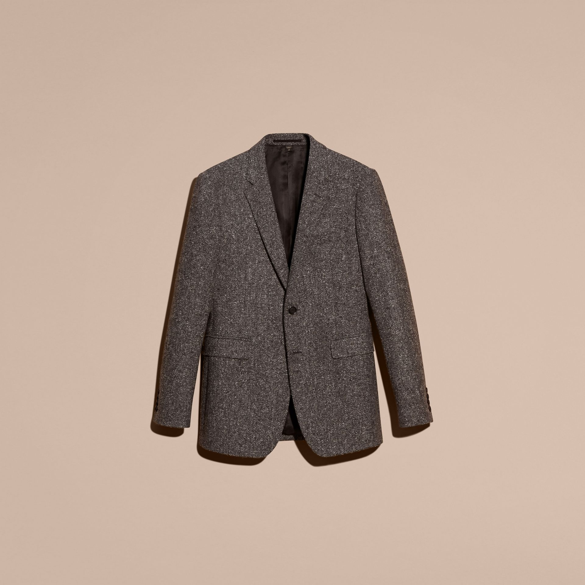 Dark grey Tailored Wool Cashmere Blend Donegal Tweed Jacket - gallery image 4