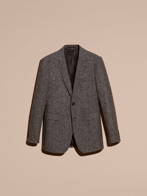 Dark grey Tailored Wool Cashmere Blend Donegal Tweed Jacket - cell image 3