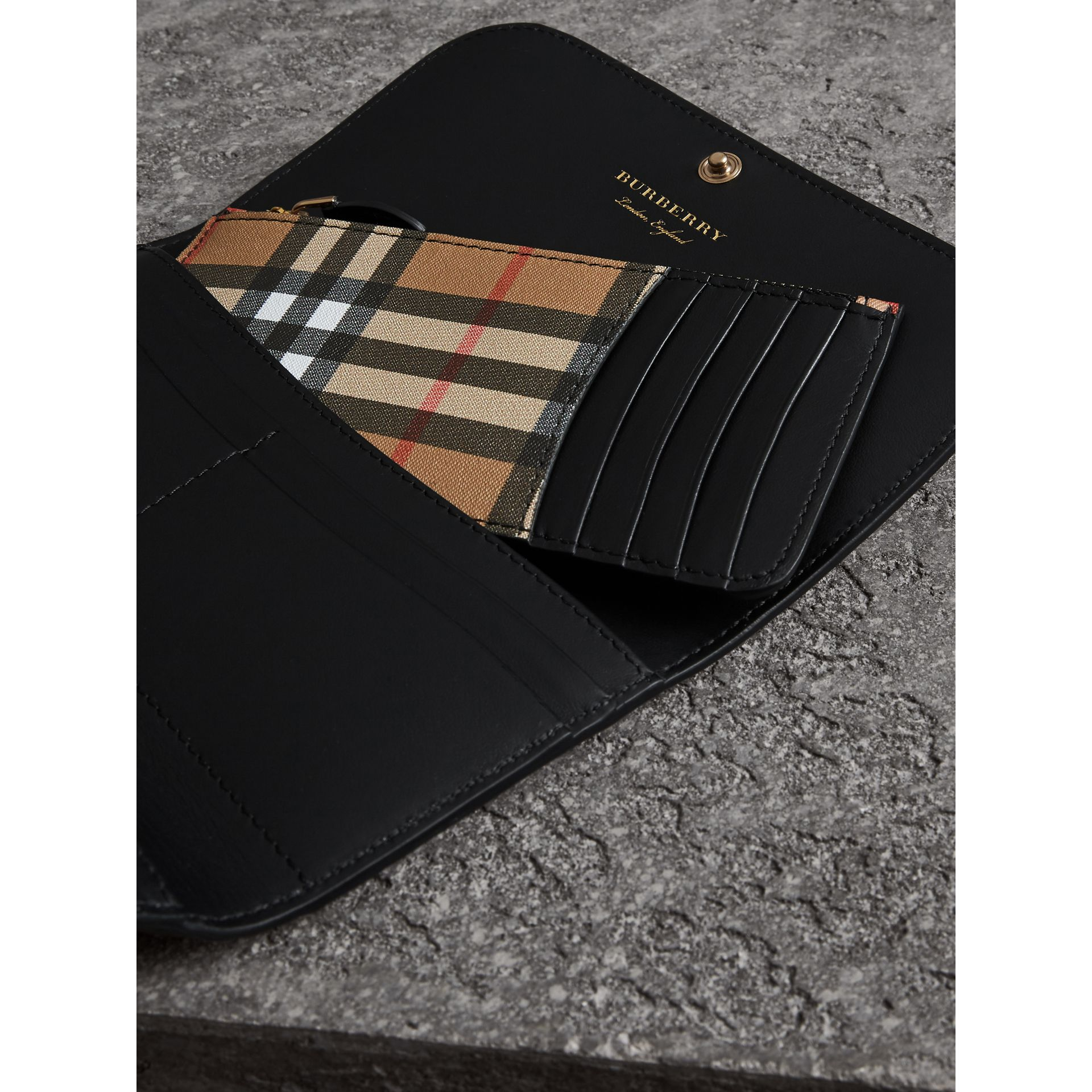 Vintage Check Continental Wallet and Pouch in Black - Women | Burberry - gallery image 1