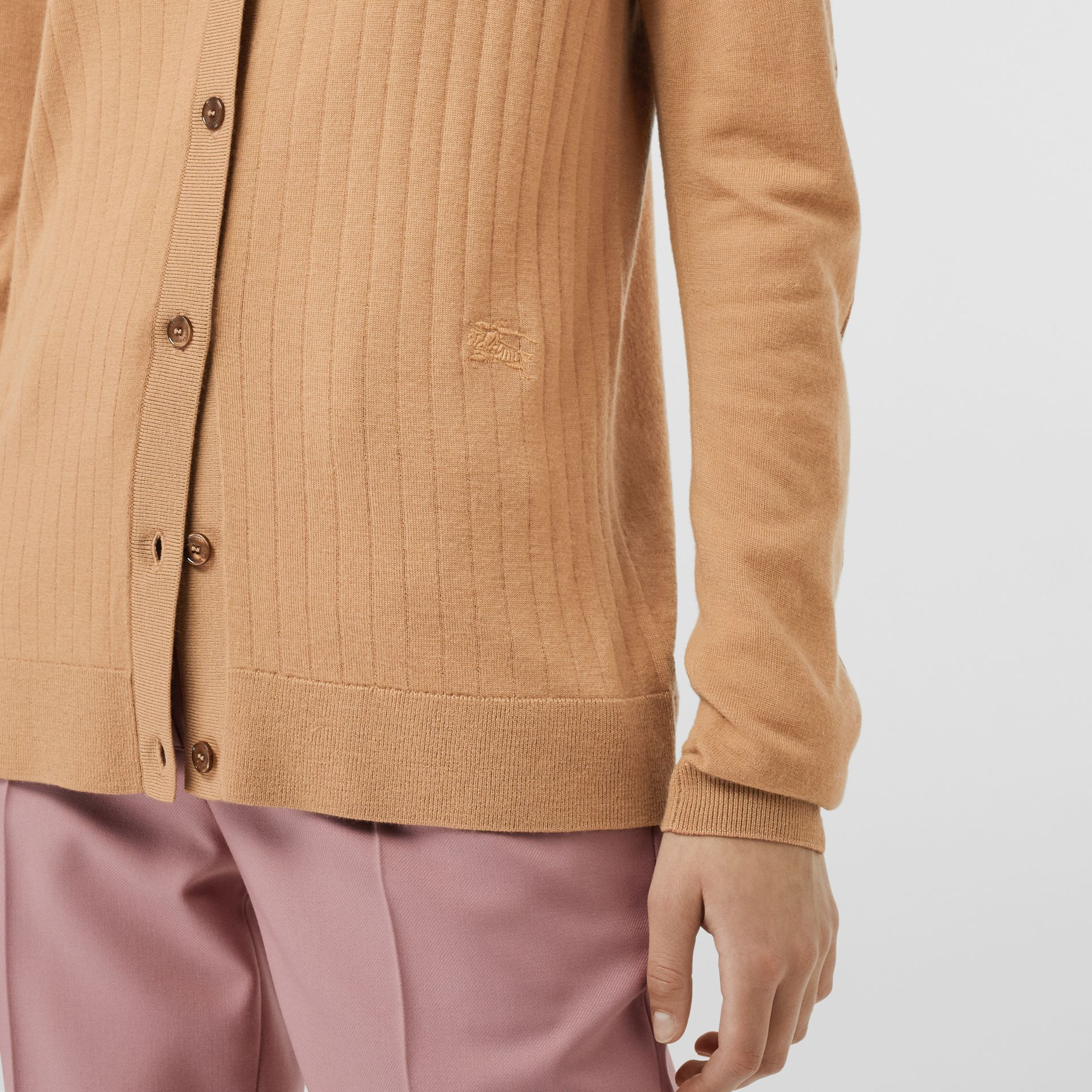 Rib Knit Cashmere Cardigan in Camel - Women | Burberry United Kingdom - gallery image 1