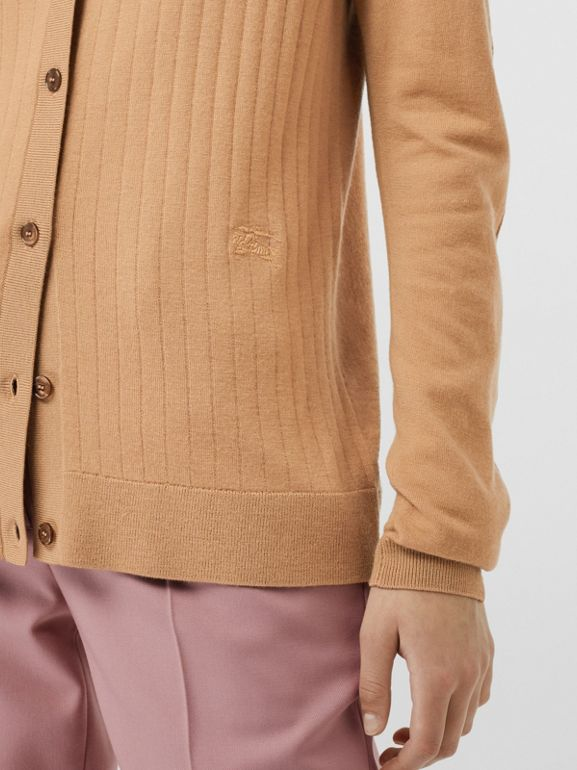 Rib Knit Cashmere Cardigan in Camel - Women | Burberry - cell image 1