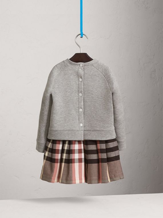Contrast Check Sweater Dress in Dusty Pink - Girl | Burberry - cell image 3