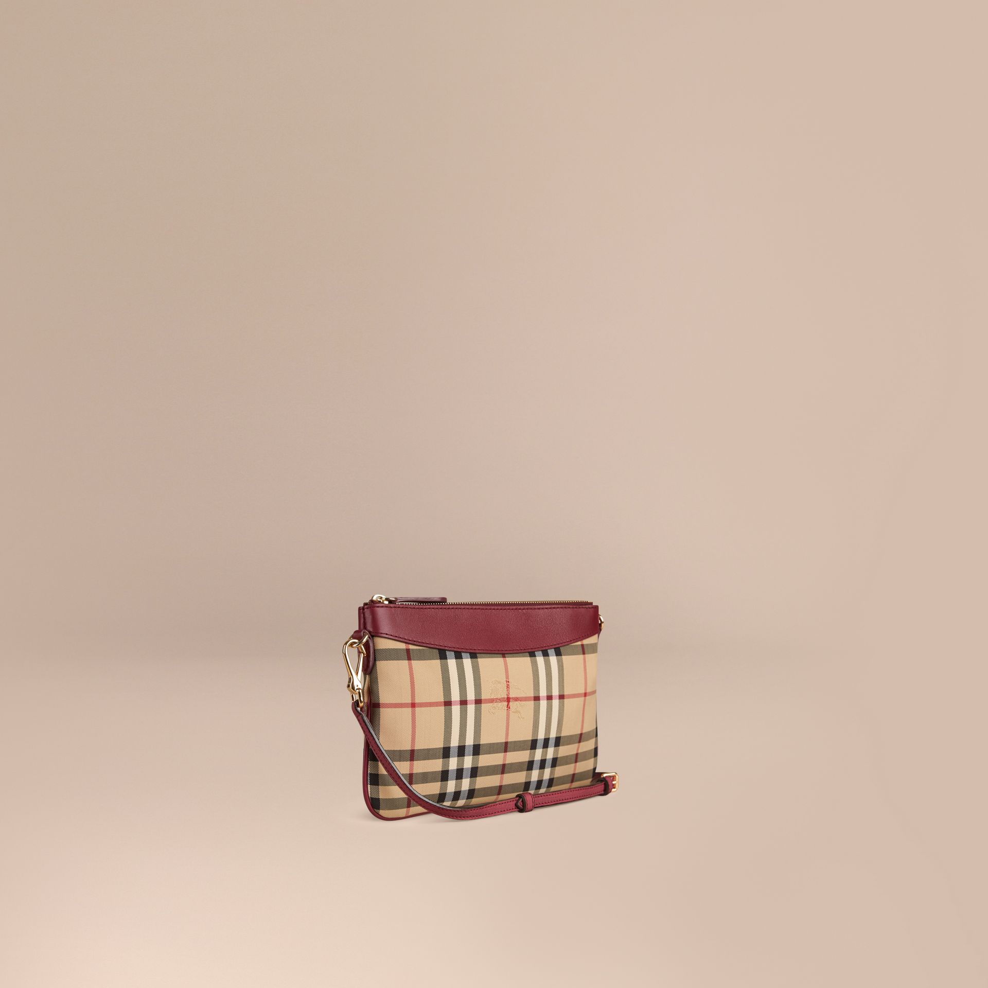 Dark plum Horseferry Check and Leather Clutch Bag Dark Plum - gallery image 1