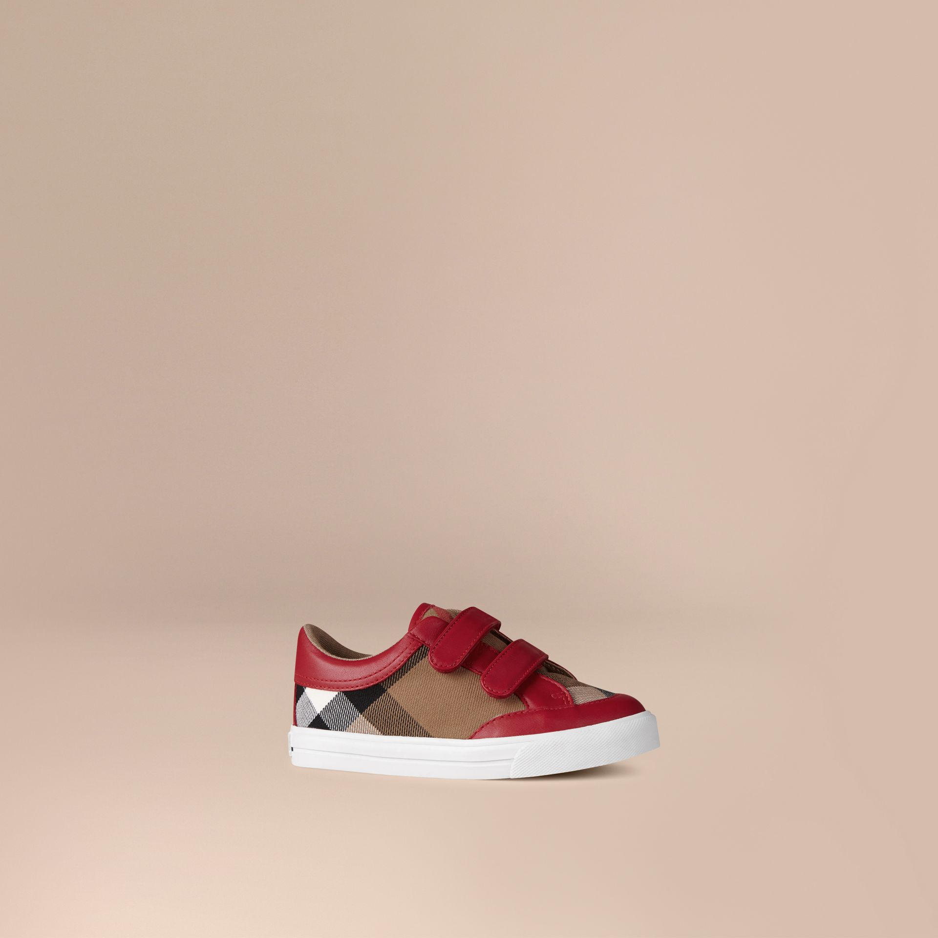House Check and Leather Trainers in Parade Red | Burberry - gallery image 1