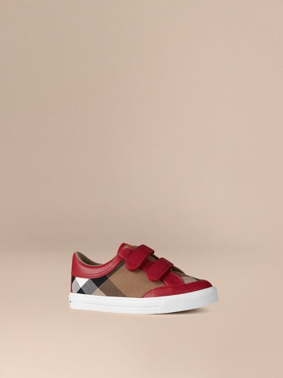 House Check and Leather Trainers in Parade Red | Burberry Hong Kong