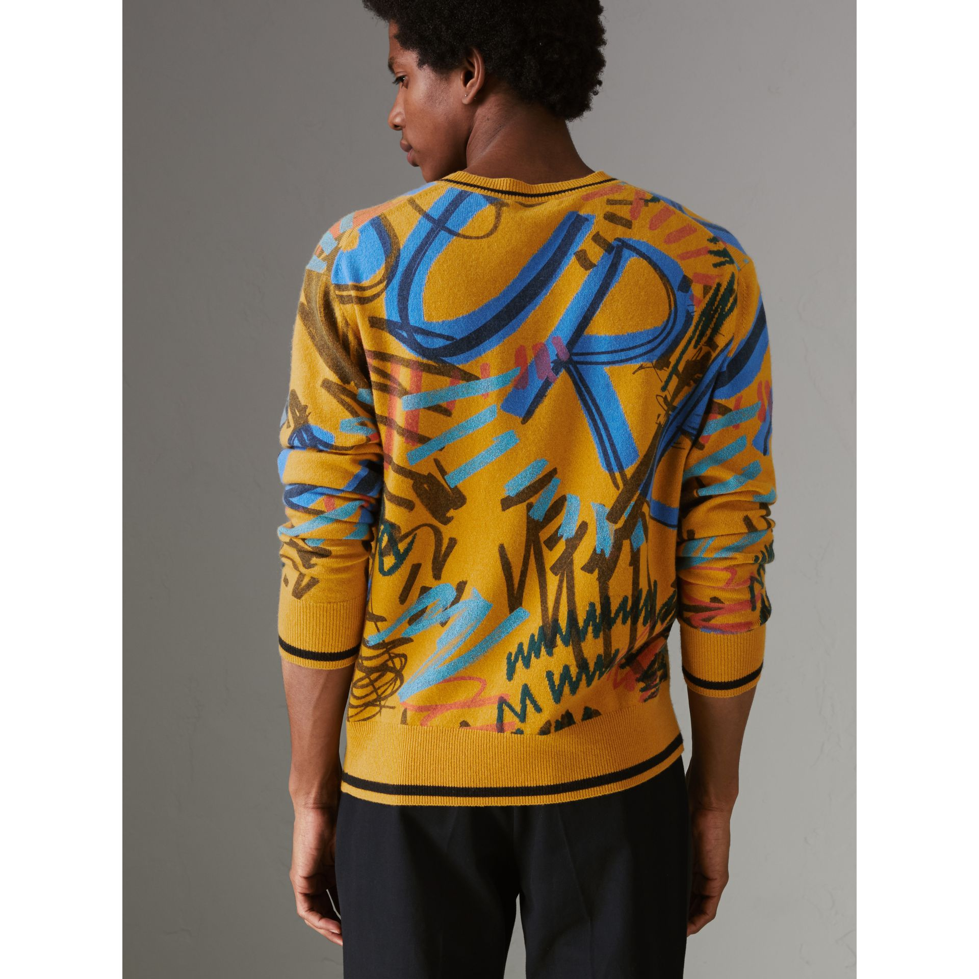 Graffiti Scribble Intarsia Cashmere Sweater in Amber Yellow - Men | Burberry Australia - gallery image 2