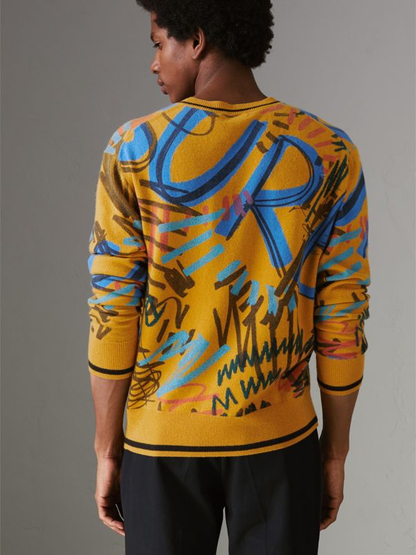 Graffiti Scribble Intarsia Cashmere Sweater in Amber Yellow - Men | Burberry - cell image 2