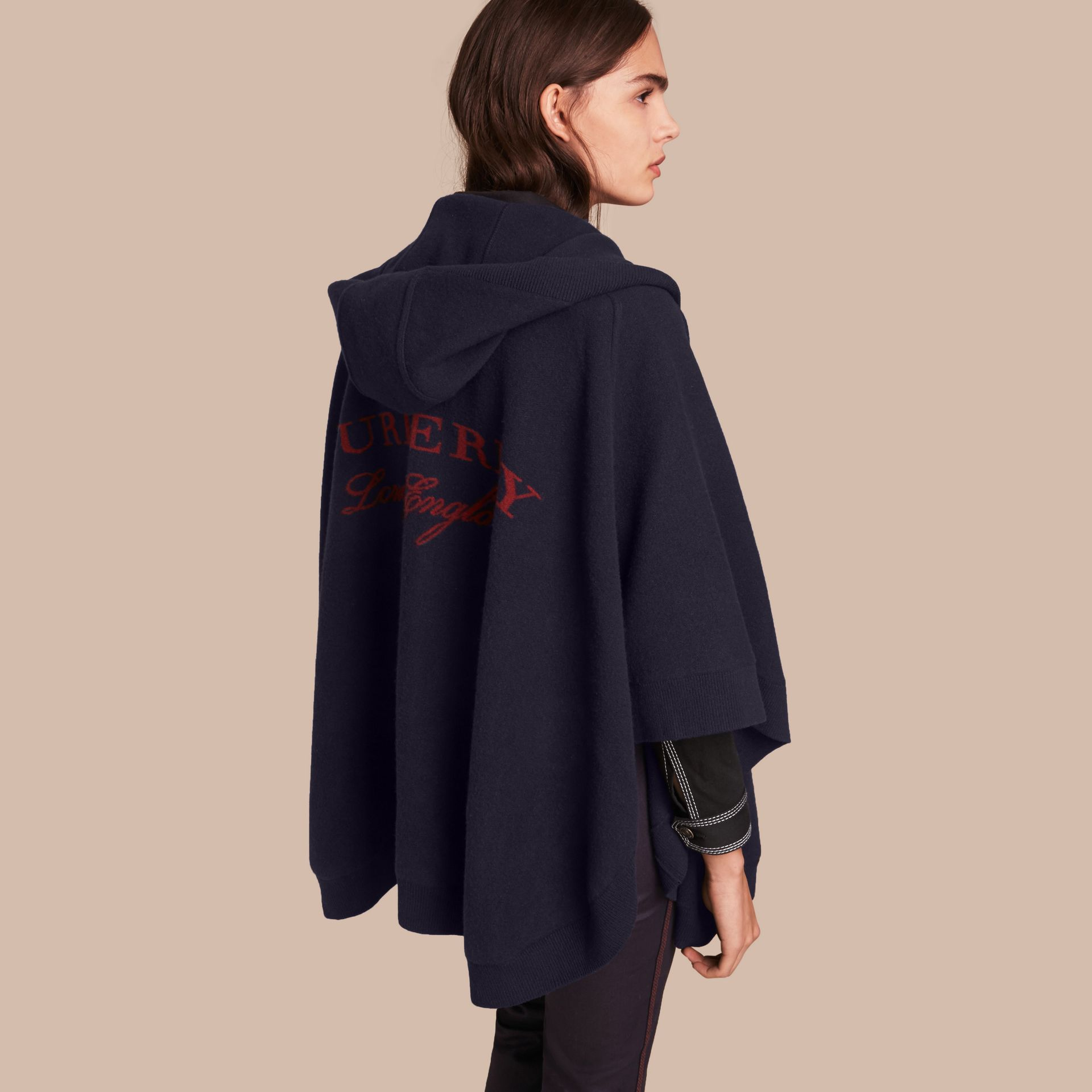 Wool Cashmere Blend Hooded Poncho in Navy/black - Women | Burberry - gallery image 1