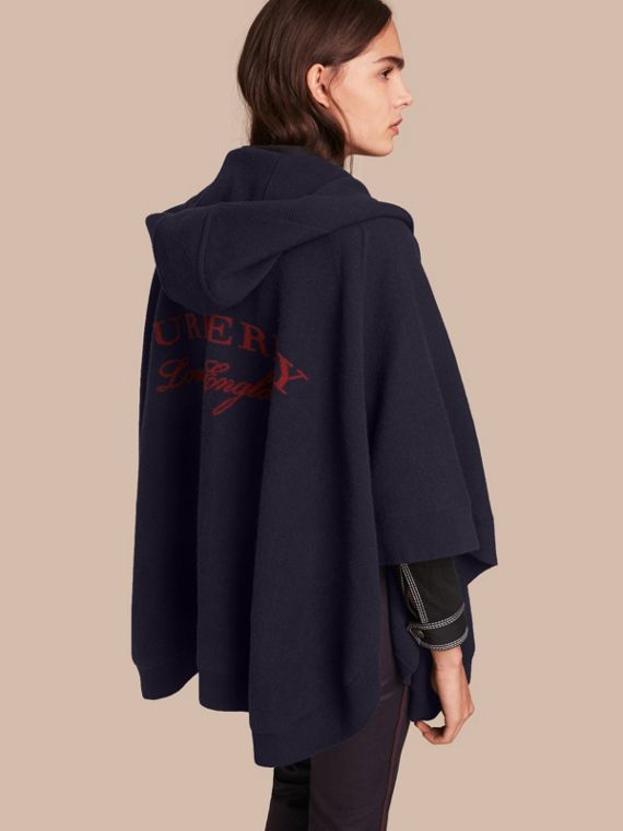Wool Cashmere Blend Hooded Poncho in Navy/black