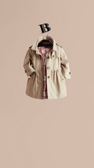 Skirted Cotton Twill Trench Coat