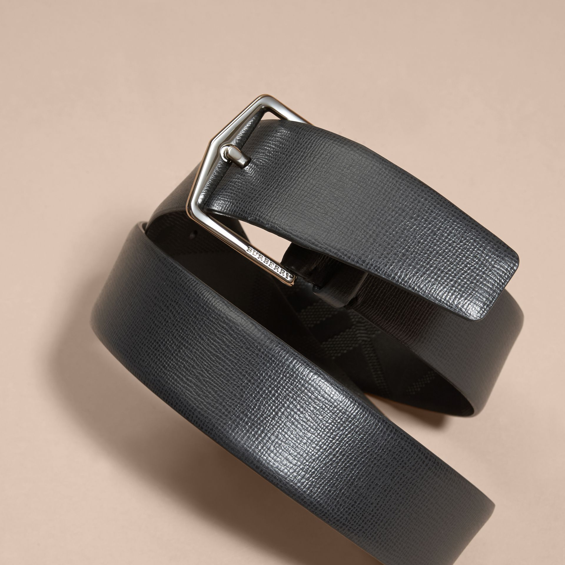 London Leather Belt with Check Detail Black - gallery image 2