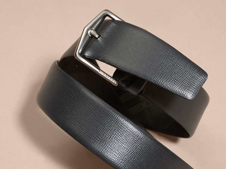 London Leather Belt with Check Detail Black - cell image 1