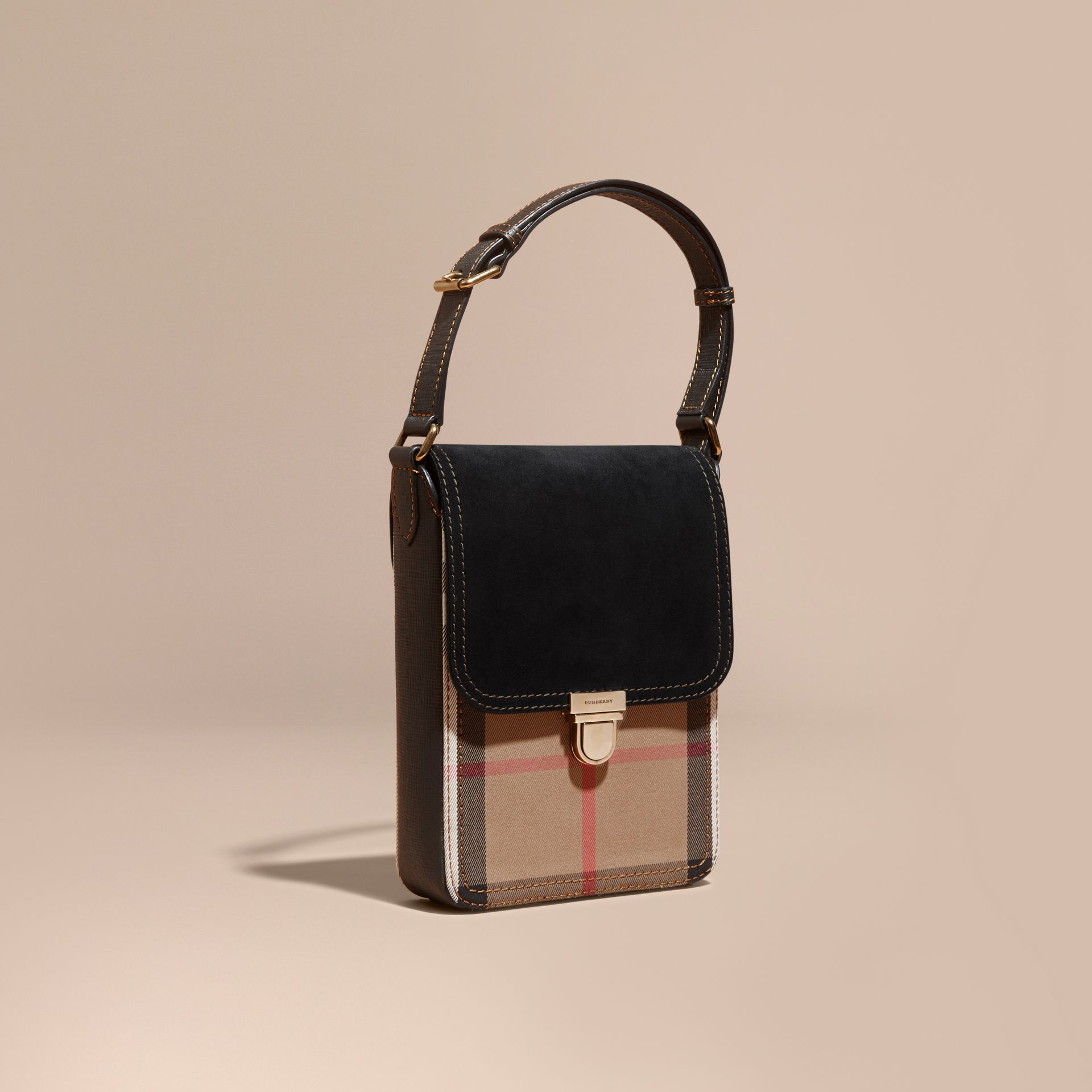 Black The Small Satchel in English Suede and House Check Black - gallery image 1