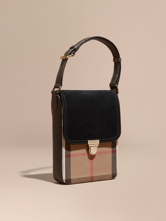 The Satchel piccola con pelle scamosciata inglese e motivo House check Nero