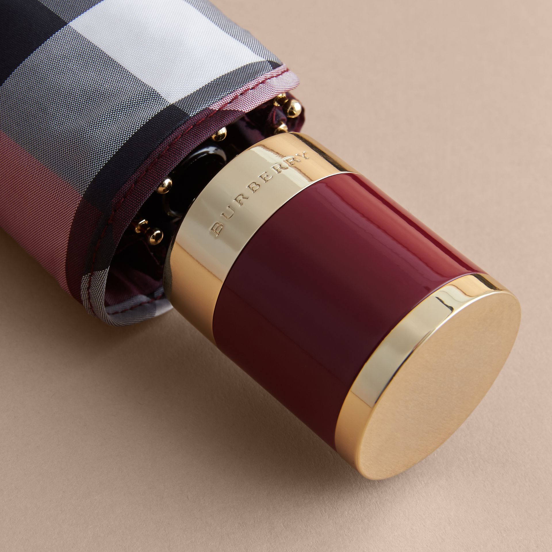 Check Folding Umbrella in Plum - Women | Burberry - gallery image 2