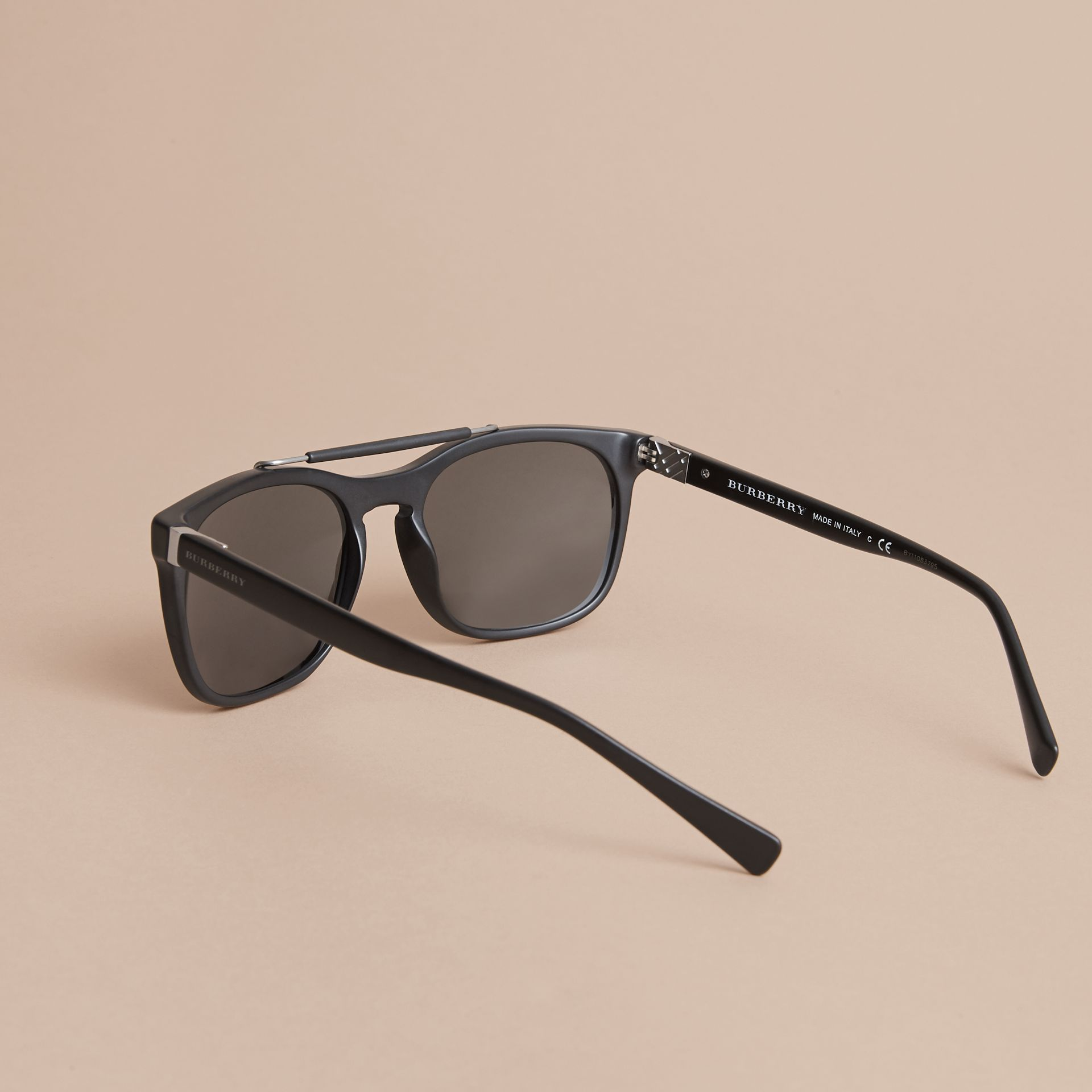 Top Bar Square Frame Sunglasses in Black | Burberry Australia - gallery image 3