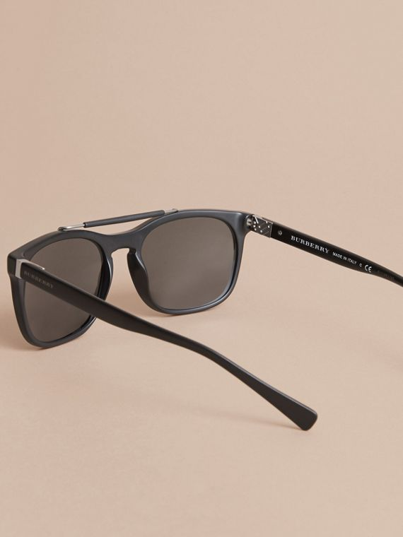 Top Bar Square Frame Sunglasses in Black - Men | Burberry - cell image 3