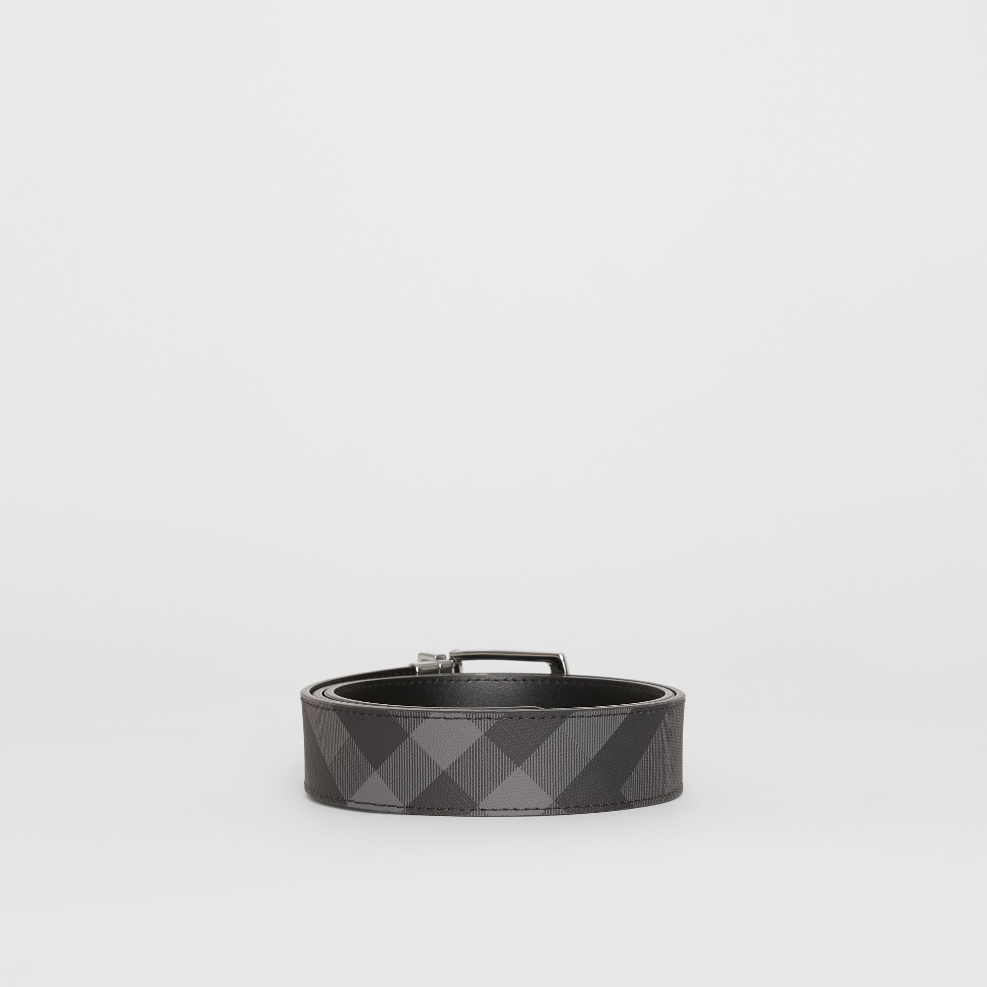 Reversible London Check and Leather Belt in Charcoal/black - Men | Burberry Hong Kong - gallery image 4