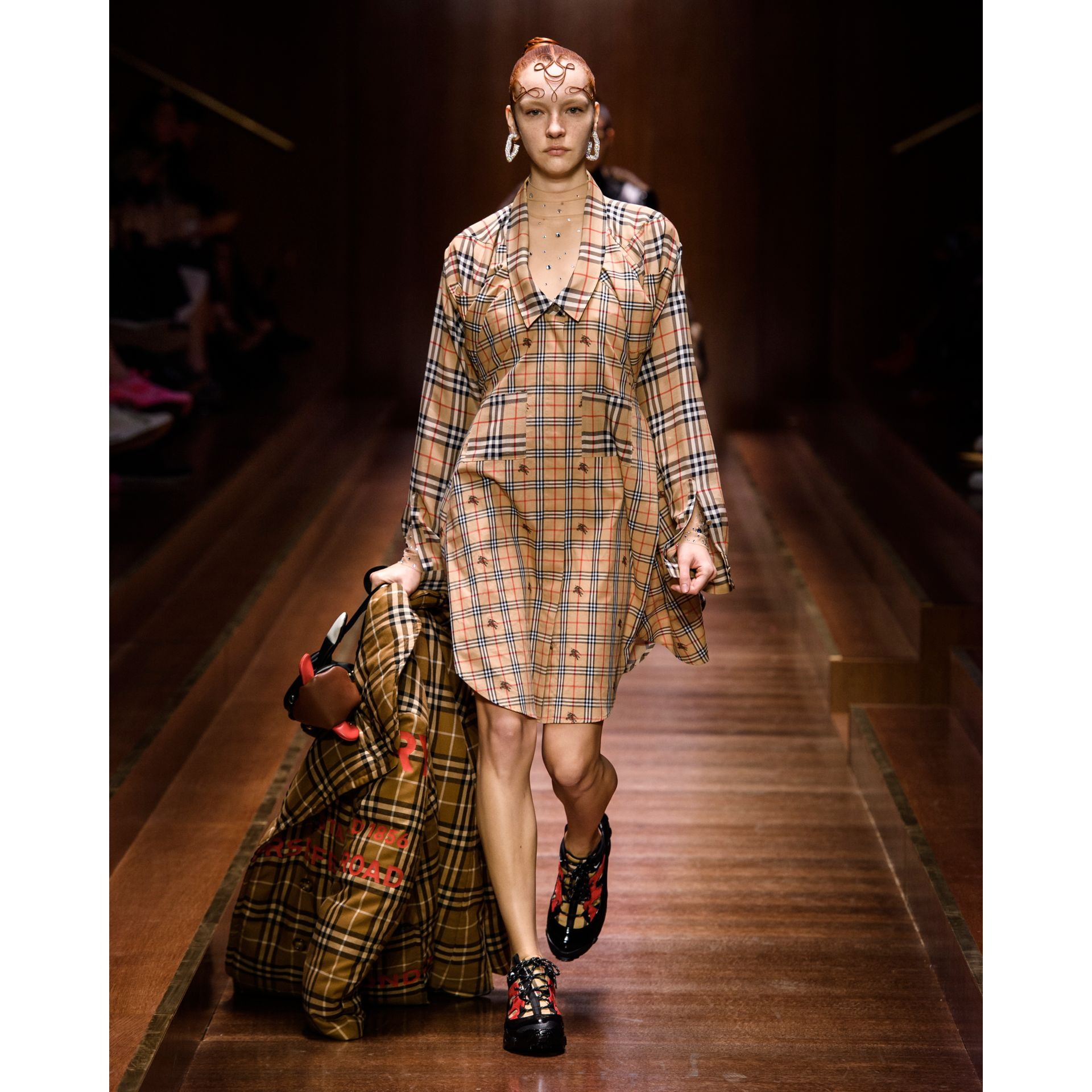 Horseferry Print Check Down-filled Oversized Pea Coat in Warm Walnut - Women | Burberry Singapore - gallery image 6