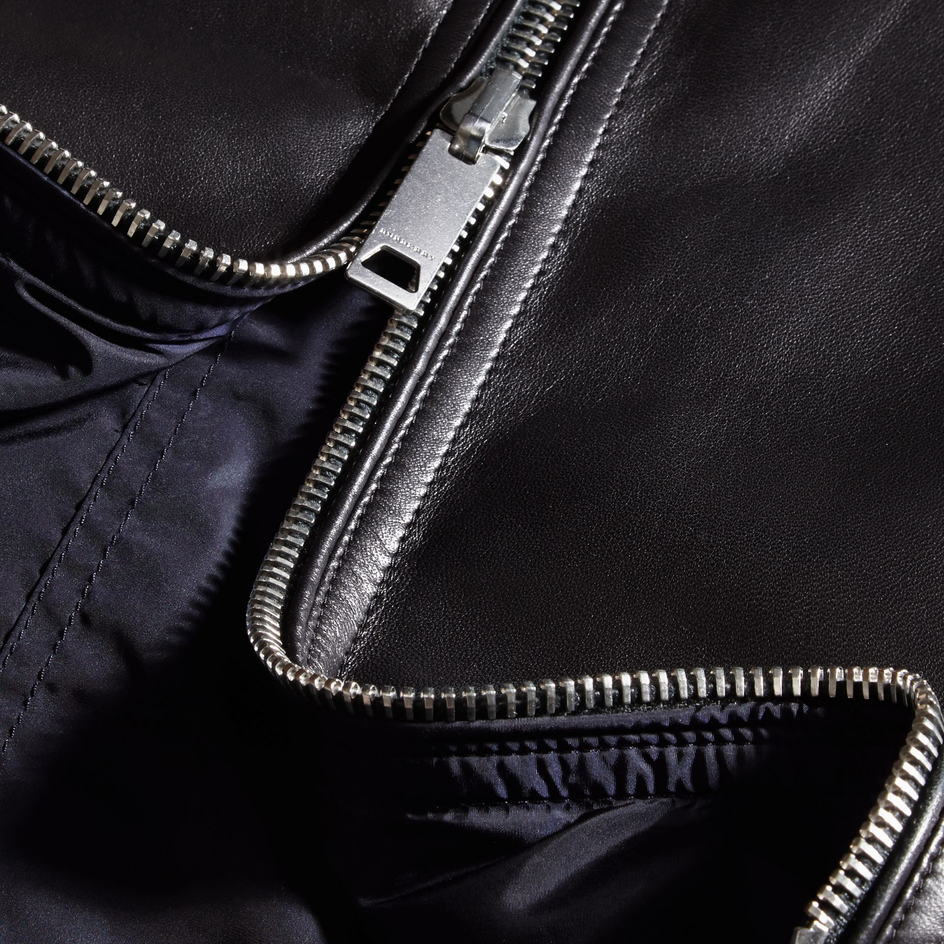 Black Reversible Lambskin Jacket with Hood - gallery image 2