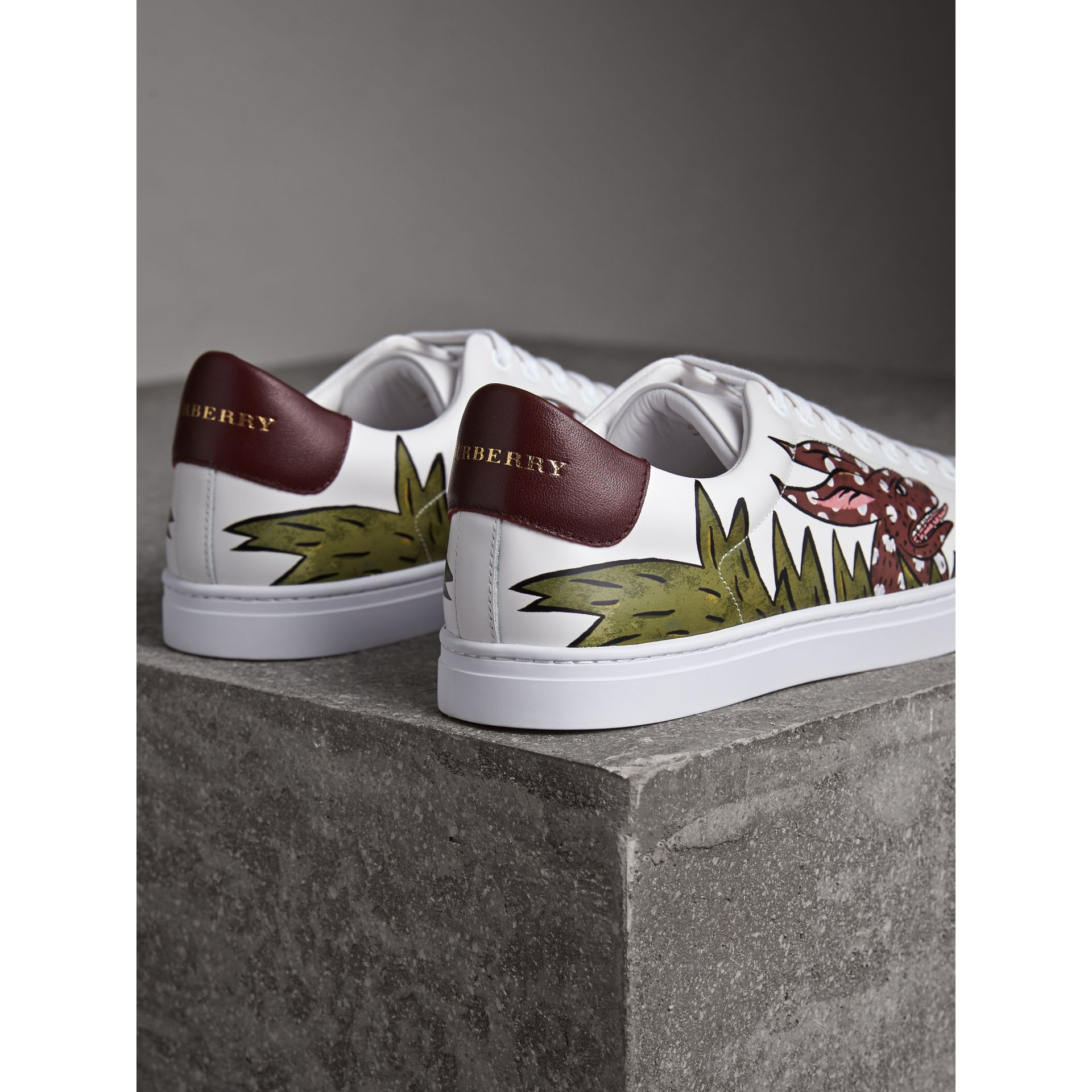 Beasts Print Leather Trainers in Optic White | Burberry Singapore - gallery image 3