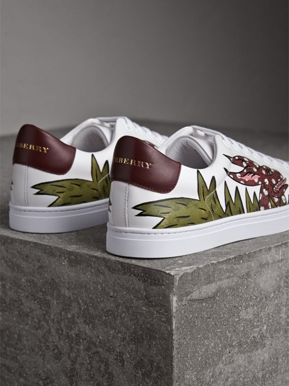 Beasts Print Leather Trainers in Optic White - Men | Burberry - cell image 3